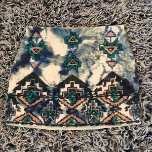 Express tie dye sequined mini skirt